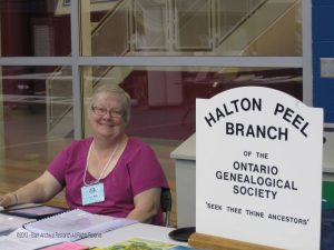 Jane Watt representing Halton Peel Branch Ontario Genealogical Society Conference 2013